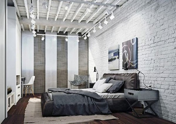 80 bachelor pad men 39 s bedroom ideas manly interior design for Brick wallpaper bedroom ideas