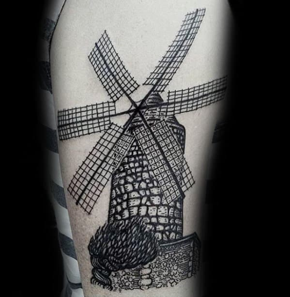 Mens Arm Detailed Windmill Tattoo