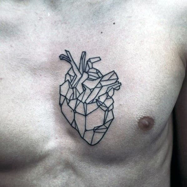Mens Black Ink Outline Small Geometric Heart Tattoo On Chest