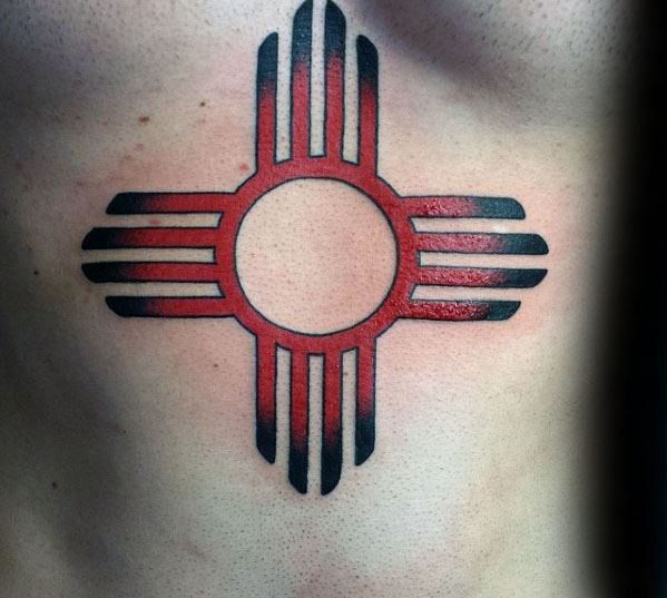 Mens Cool Red And Black Zia Chest Tattoo Ideas