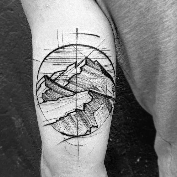 Mens Geometric Mountain Tattoo Design Inspiration