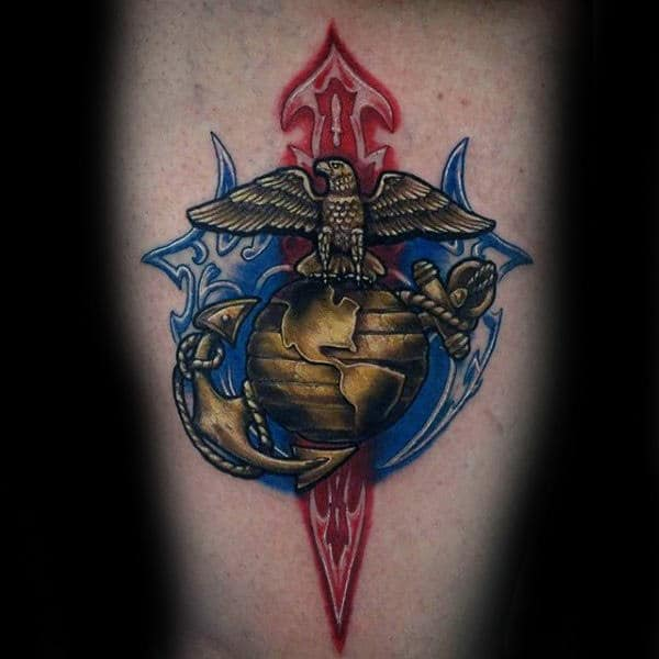 Mens Gold Marine Symbol Arm Tattoo
