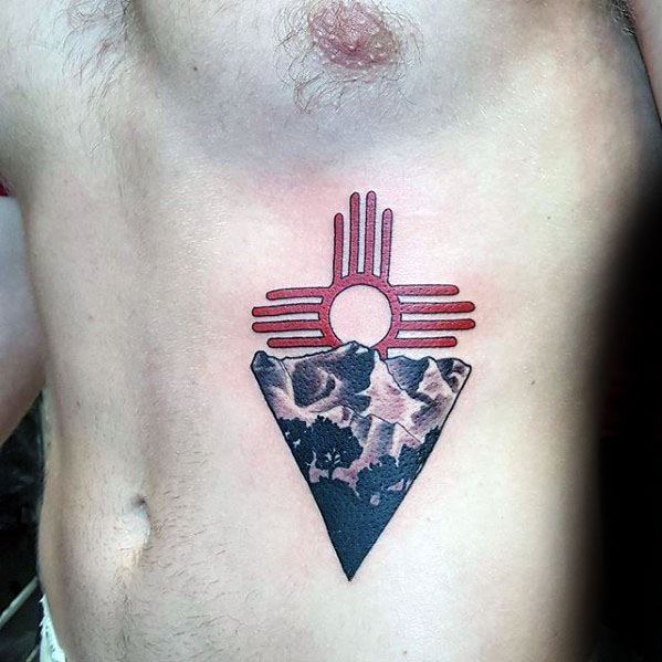 Mens Mountains Red Zia Tattoo Chest Design Inspiration