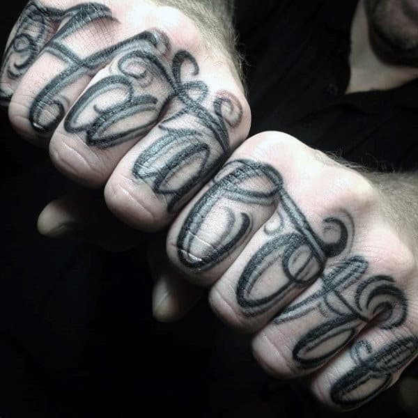 Mens Unique Finger Tattoos With Script Words