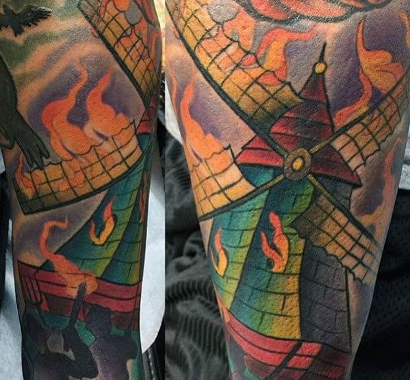 Mens Windmill On Fire Arm Sleeve Tattoos