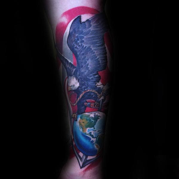 Modern United States Marines Male Forearm Sleeve Tattoo