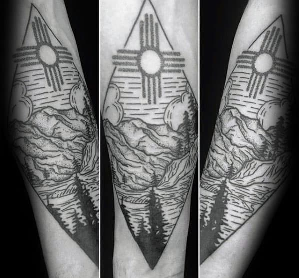 Nature Landscape Inner Forearm Distinctive Male Zia Tattoo Designs