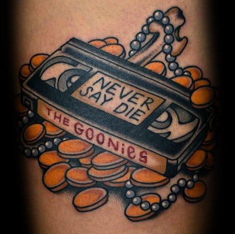 Old School Traditional Never Say Die The Goonies Video Tape Tattoo