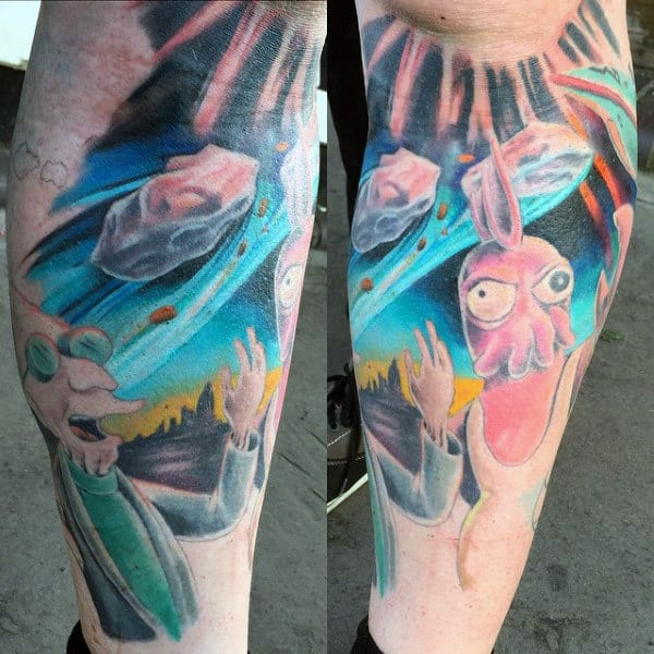 80 futurama tattoo designs for men animation ink ideas for Outer space tattoo design