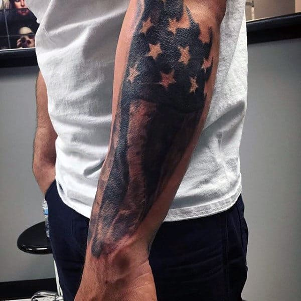 Patriotic Forearm American Flag Tattoos For Males