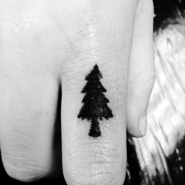 Pine Tree Mens Tattoos For Fingers