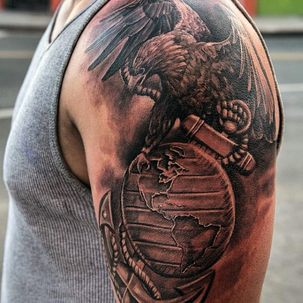 Realistic Marine Eagle With Globe And Anchor Arm Tattoos