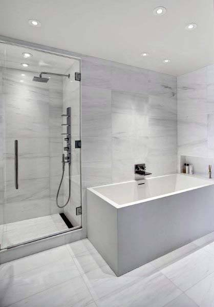 Rectangle Bathtub With Shower White Bathroom Ideas