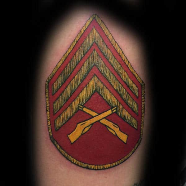Red And Yellow Ink Marine Patch Rank Male Tattoos