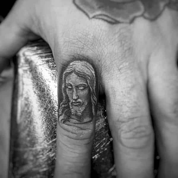 Religous Jesus Tattoos Finger Inspiration For Men