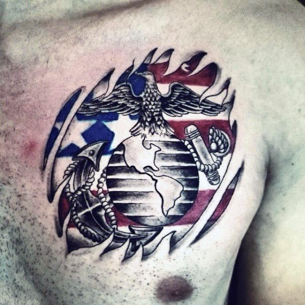 Ripepd Skin Marine American Flag Guys Chest Tattoos