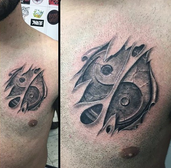 Ripped Skin Yin Yang Heart Tattoos For Guys On Chest