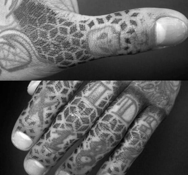 Sacred Geometry Finger Tattoo Designs For Men