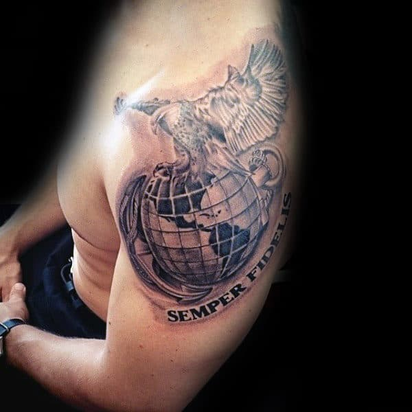 Semper Fiedlis Marine Mens Upper Arm Globe Eagle And Anchor Tattoos