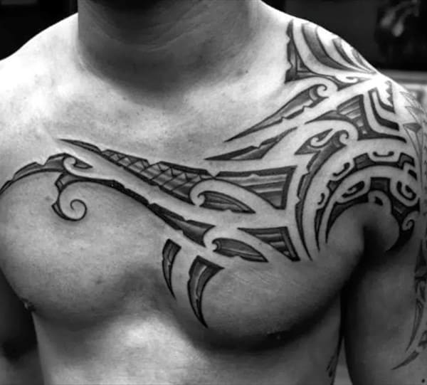 50 tribal chest tattoos for men masculine design ideas. Black Bedroom Furniture Sets. Home Design Ideas
