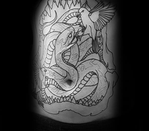Shark Jaw With Snake And Bird Guys Old School Full Chest Tattoos