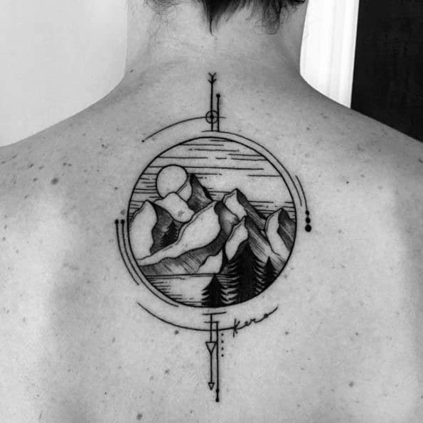 Sharp Geometric Mountain Male Tattoo Ideas