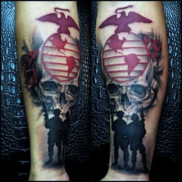 Skull Marine Soliders Mens Inenr Forearm Tattoos