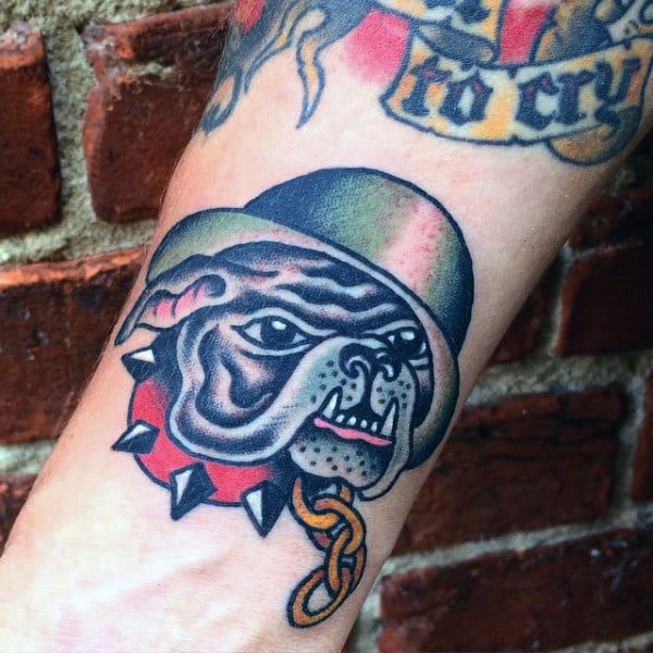Small Marine Bulldog Wrist Mens Tattoos