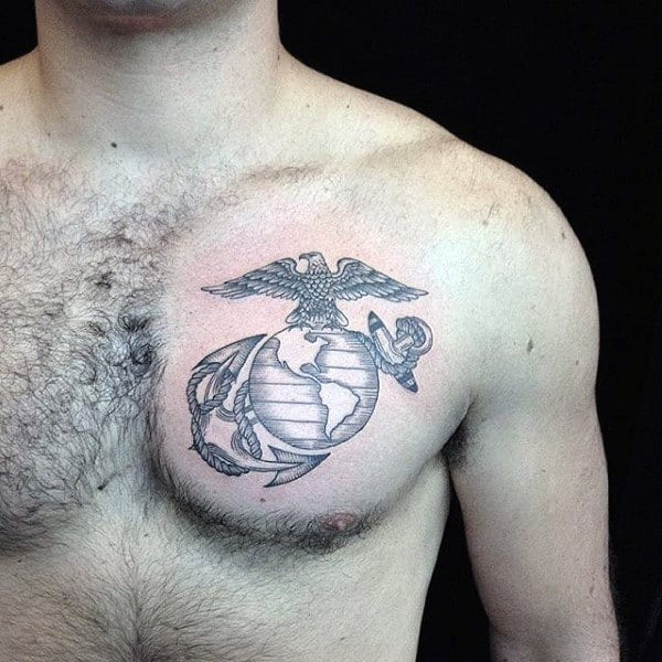 Small Simple United States Marines Upper Chest Tattoo On Male