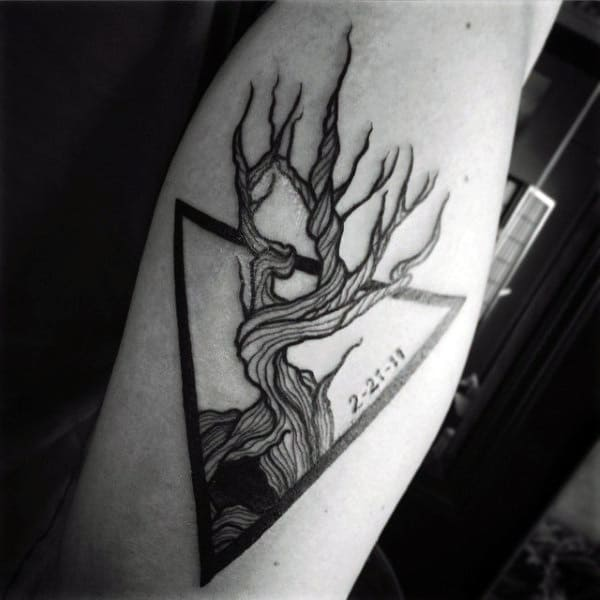 Small Tattoo Designs For Men Triangle Tree