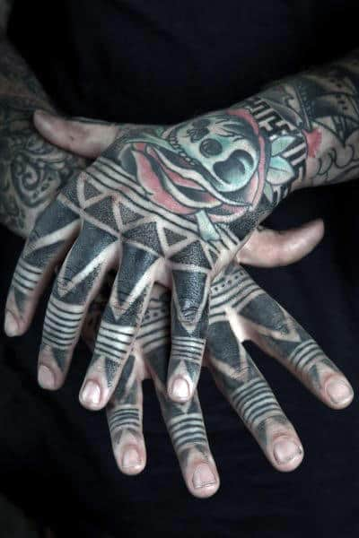Tribal Black Mens Finger Tattoos