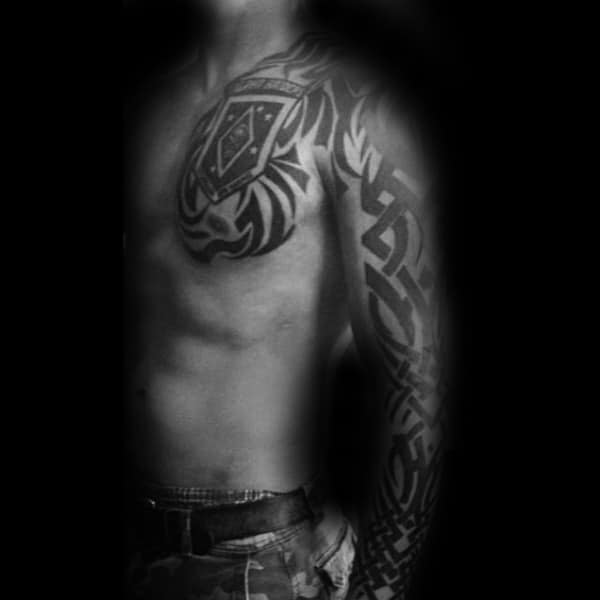 Tribal Mens Marines Sleeve And Chest Tattoo