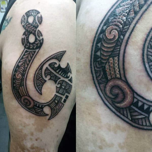 Tribal Upper Arm Fish Hook Male Tattoos