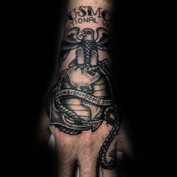 United States Marines Mens Hand Tattoo Design Inspiration