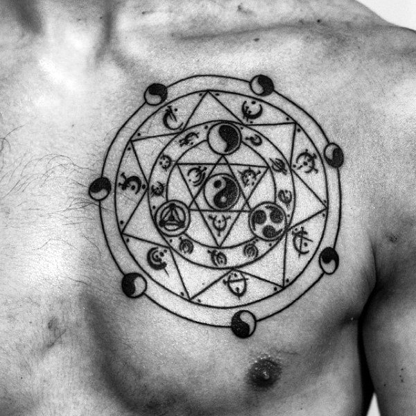 Upper Chest Yin Yang Tattoos For Men In Black Ink