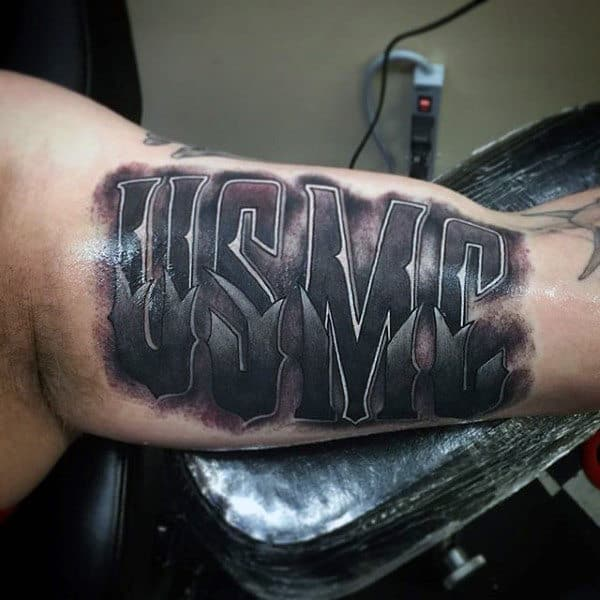 Usmc Bicep Mens Marine Word Tattoos