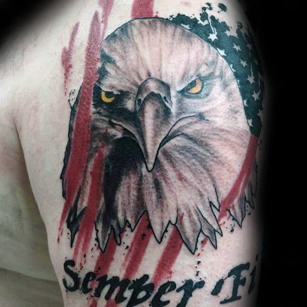 Watercolor American Flag With Eagle Semper Fi Marine Guys Arm Tattoo