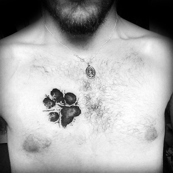 Watercolor Small Dog Paw Print Male Chest Tattoos
