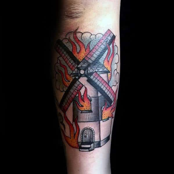 Windmill On Fire With Flames Mens Outer Forearm Tattoo