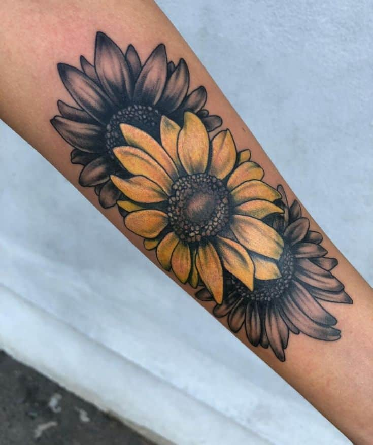 large black and grey and color tattoo on forearm of one yellow sunflower and two black sunflowers all in a row
