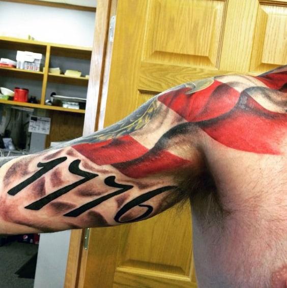 1776 Flag Patriotic Guys Upper Arm Tattoos