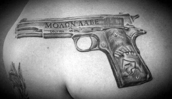 1911 Tattoo Designs For Gentlemen On Upper Chest