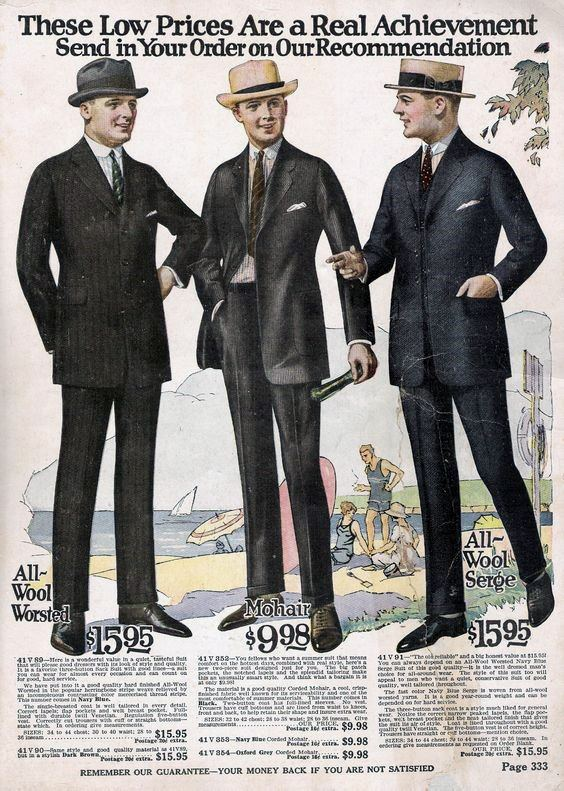 1920s Fashion Mens Suits Shopping Catalog Wool Worsted Mohair And All Wool Serge
