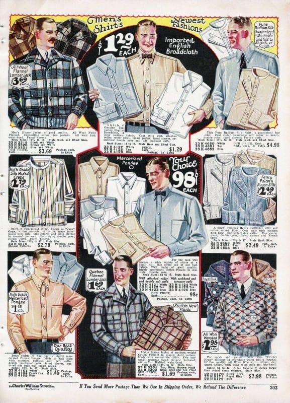 1920s Mens Dress Shirt Fashion From Vintage Catalog