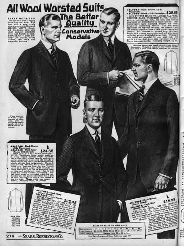 1920s Wool Worsted Suits Fashion Catalog
