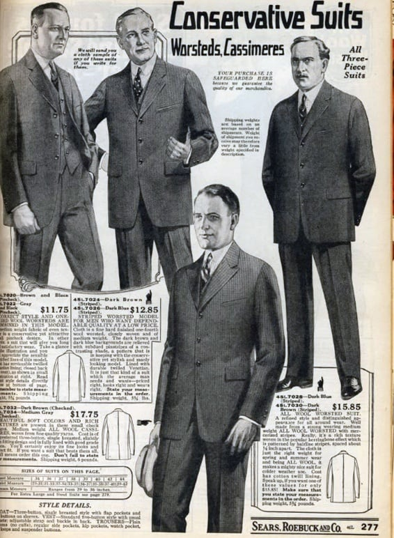 1920s Worsteds Cassimeres Three Peice Suits Fashion For Men Catalog