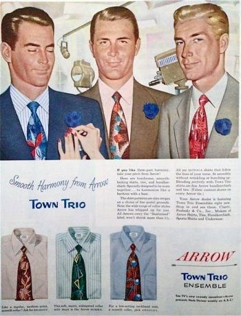 1950s Dress Shirt And Tie Mens Fashion