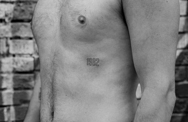 1982 Mens Birth Year Minimalist Rib Cage Side Tattoo
