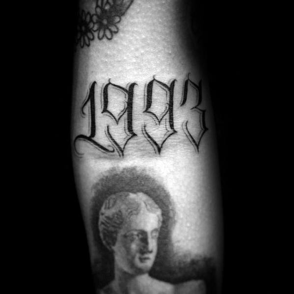 1993 Numbers Small Unique Mens Inner Forearm Tattoos