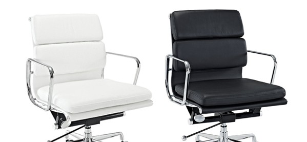 Lexington Modern Mid-Back Leather Office Chair Black And White